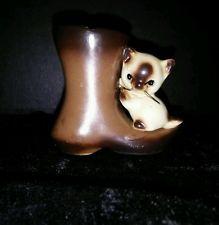 Vintage Porcelain Lego(?)Siamese Cat Kitten on a Boot Figurine Toothpick Holder