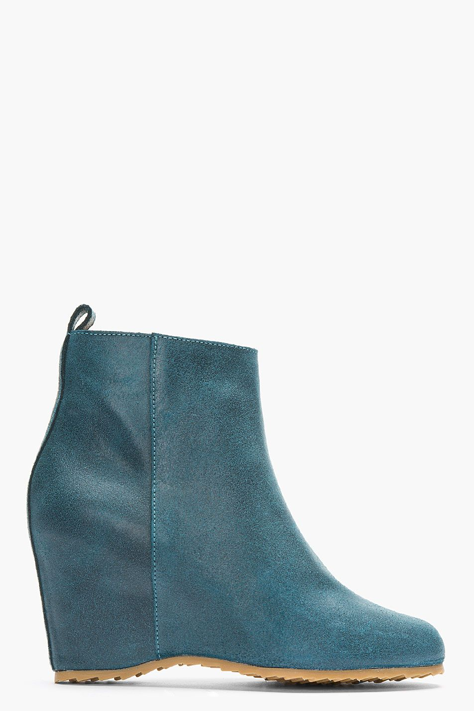 bdb704e4112 TEAL WAXED SUEDE WEDGE BOOTS