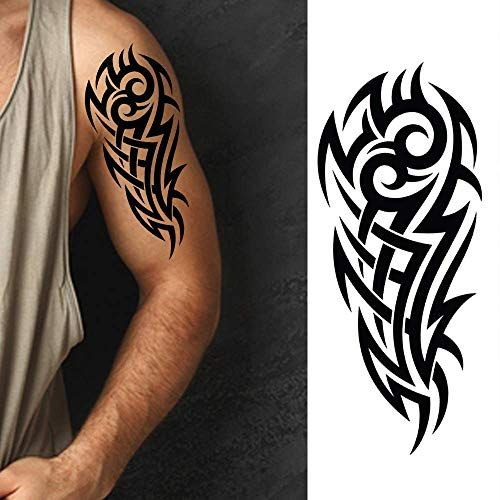 Black Temporary Tattoo Tribal Maori Body Arm Shoulder Azt