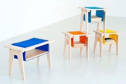 Muebles de madera y fieltro
