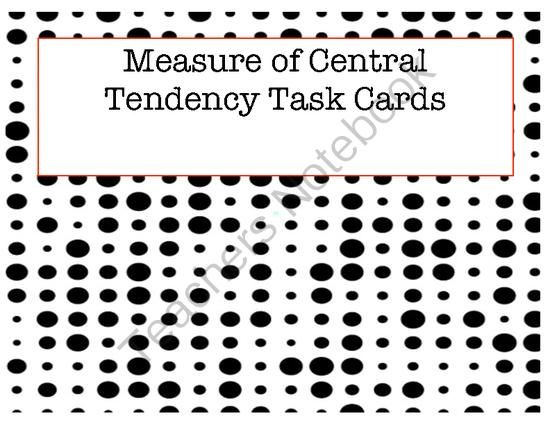 Central Tendency and Circle Graph Task Cards from