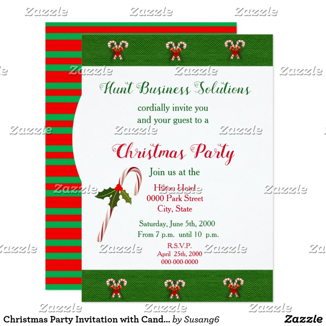 Christmas Party Invitation with Candy Cane Design | Corporate,Office ...