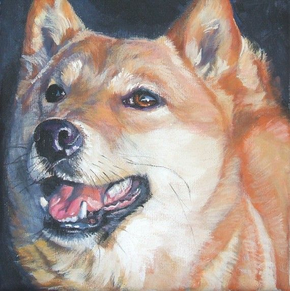 Shiba Inu Dog Art Canvas Print Of La Shepard By Thedoglover Dog Art Dog Portraits Dog Paintings