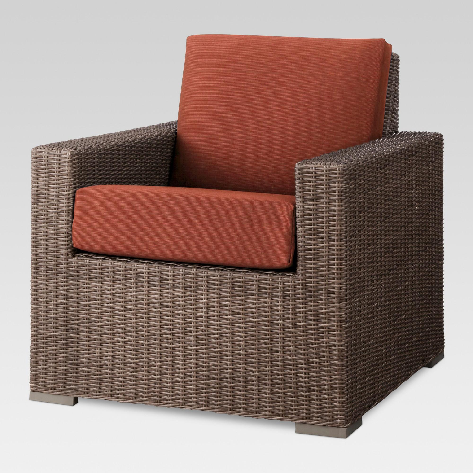 Heatherstone wicker patio club chair orange threshold