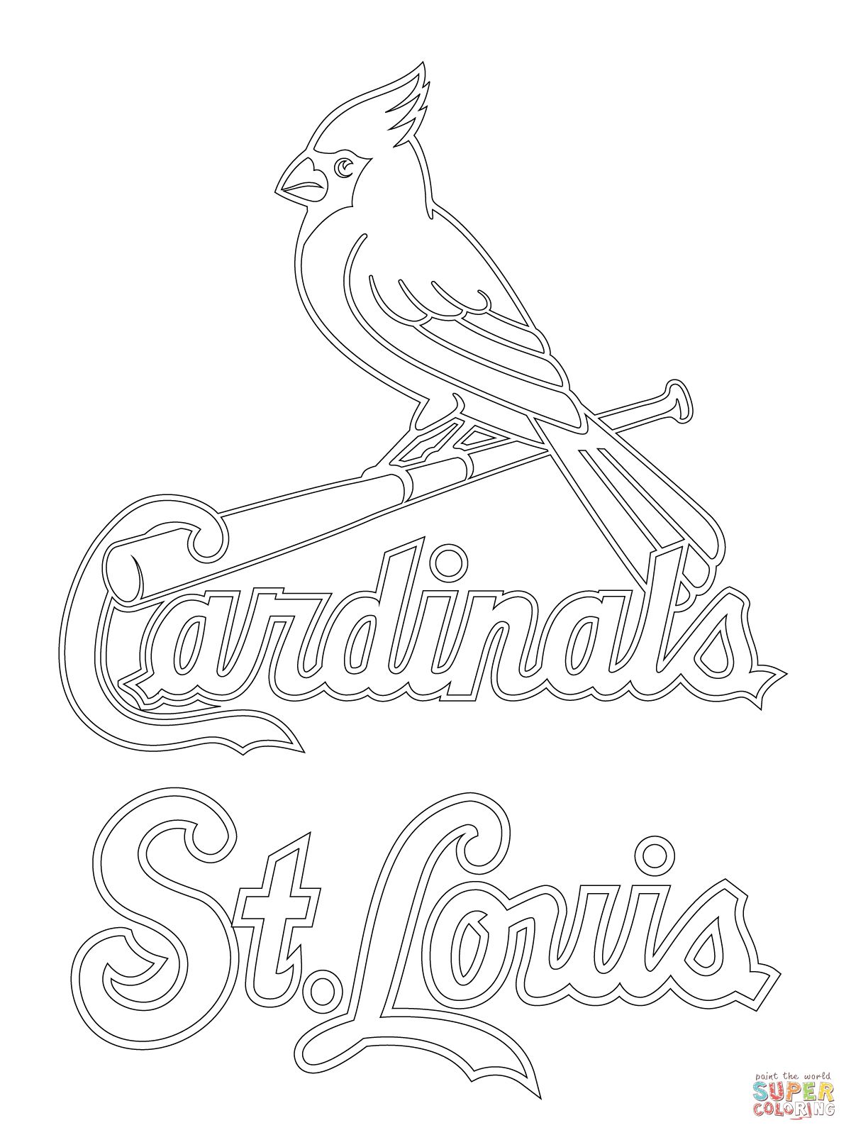 St Louis Cardinals Logo Coloring Page Baseball Coloring Pages Cardinals Baseball St Louis Cardinals Baseball