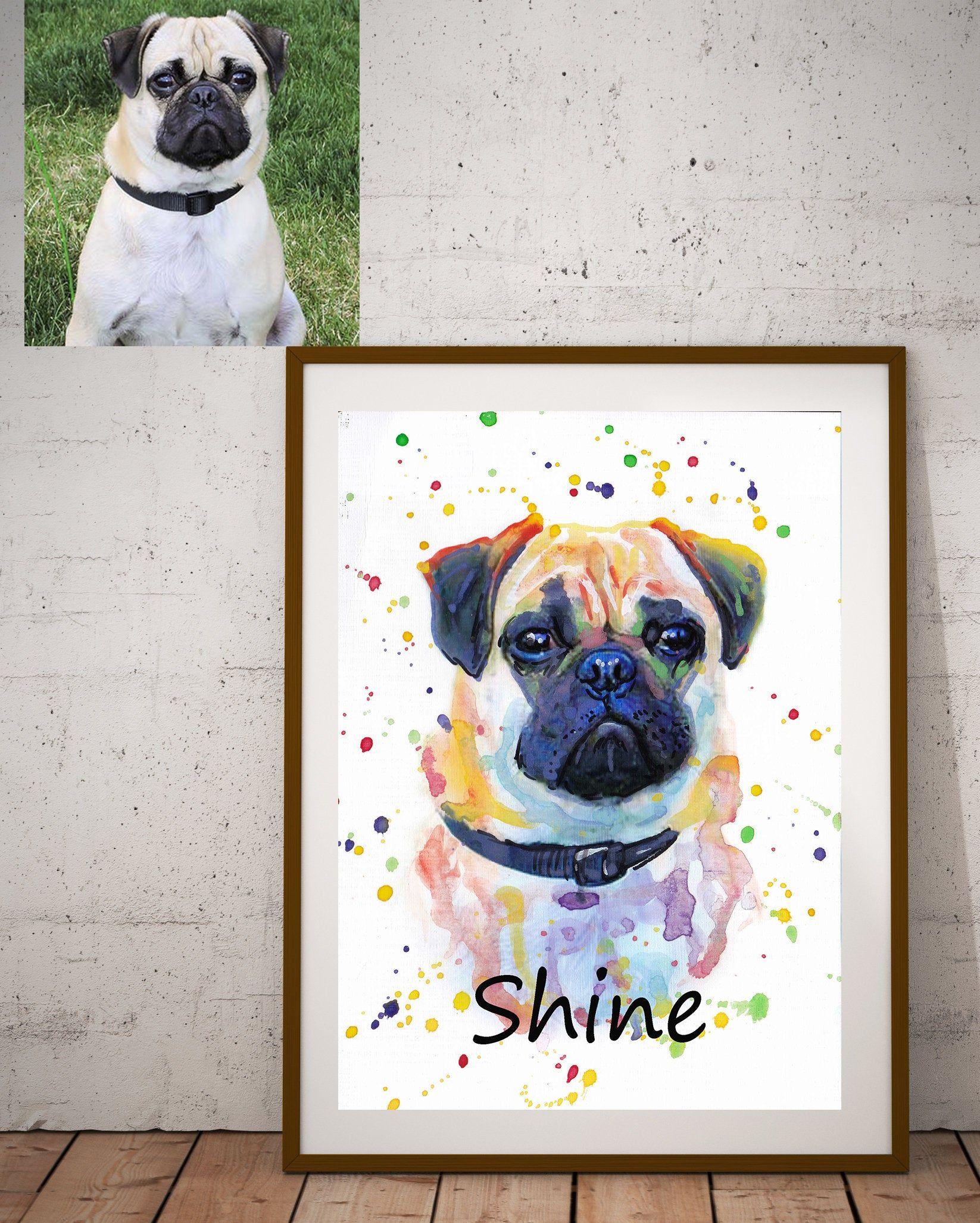 Gift Artwork Dog Original watercolor painting Wall D\u00e9cor Original Pet Portrait