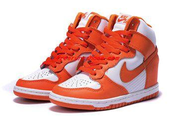 sale retailer 608e9 23738 Womens Nike High Top Sneakers Wedge Orange White Sneakers