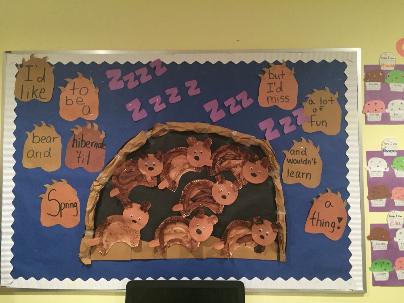 Hibernation Sleeping Bears Bulletin Board