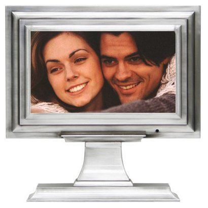 bp industries pedestal 7 inch digital frame pewter