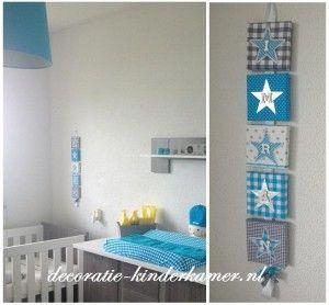 naamkoord in de kleuren ziler, aqua en grijs. babykamer decoratie, Deco ideeën