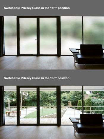 Privacy Glass That Turns Translucent At Flip Of A Switch Magiv Glass Or Smart Glass This Would Be Great Around The Jac Smart Glass Sliding Glass Door House