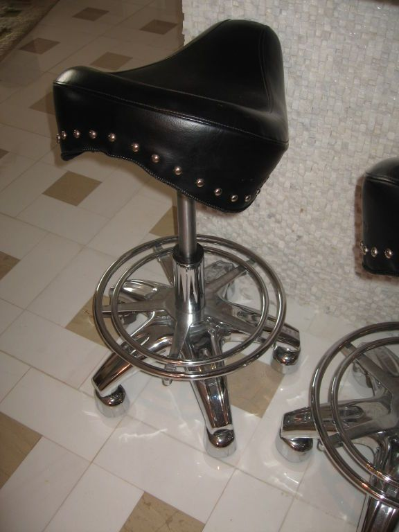 Set Of Four Contemporary Motorcycle Seat Bar Stools Bar