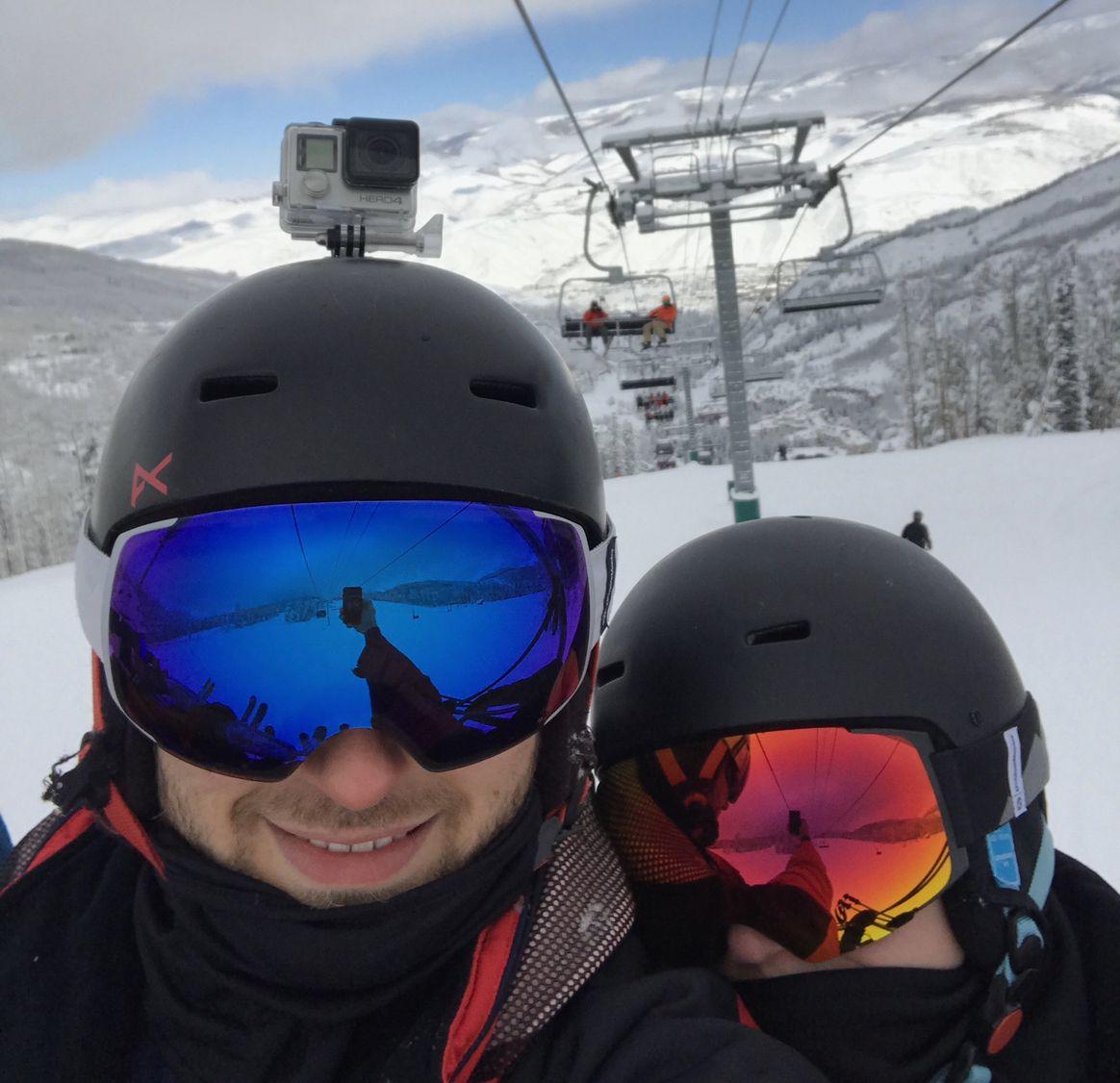 Colorado Skiing Ski Lift Rocky Mountains Couple Goggles