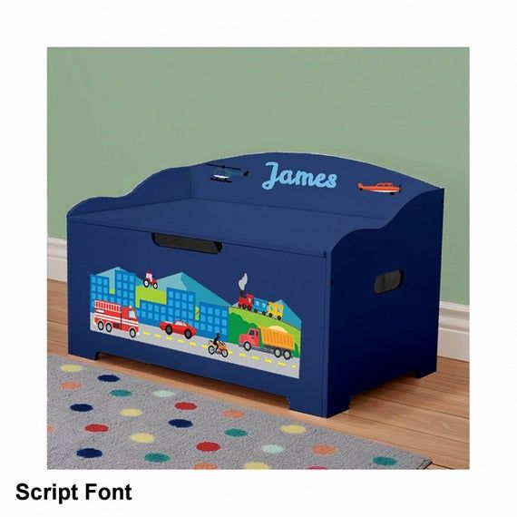 Personalized Blue with Cars, Trucks, Planes, and Trains DIBSIES Personalized Modern Expressions Toy Box