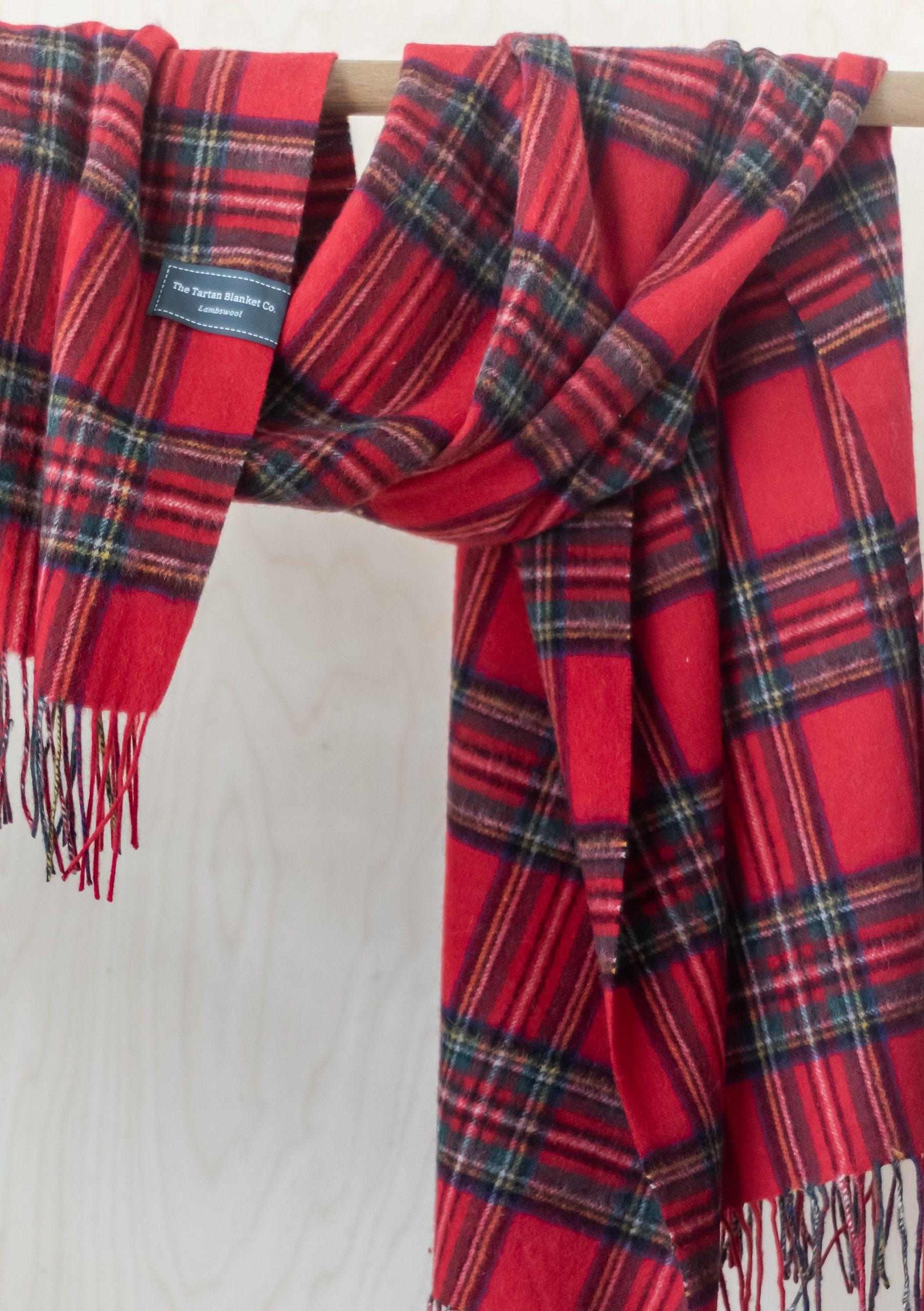 Lambswool Blanket Scarf in Stewart Royal Tartan