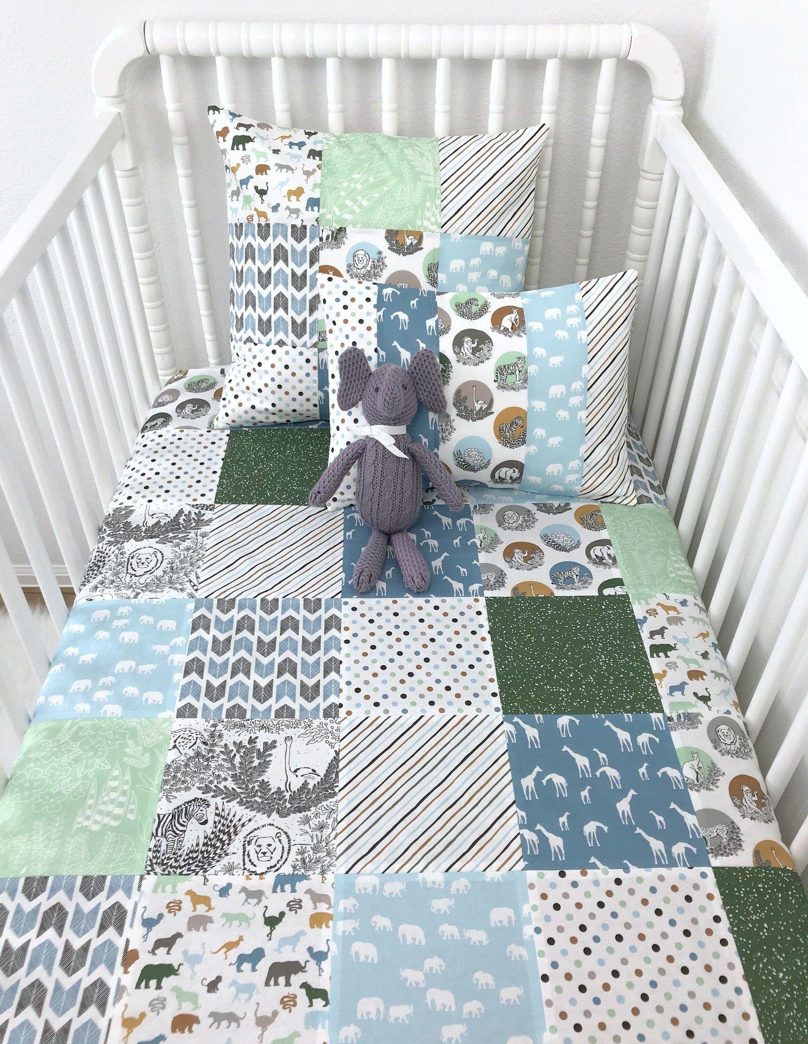 Zoo Animal Baby Blanket Jungle Animal Crib Bedding Baby Shower Gift Patchwork Baby Quilt Crib Bedding Kids Bunk Beds Crib Bedding Boy