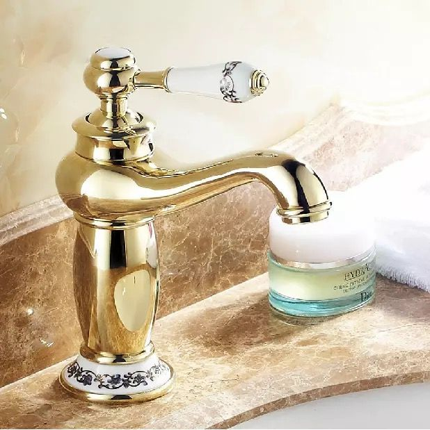 Free Shipping Gold Taps Bathroom Tap Sink Br Chromed Faucet Bath Mixer Single Handle