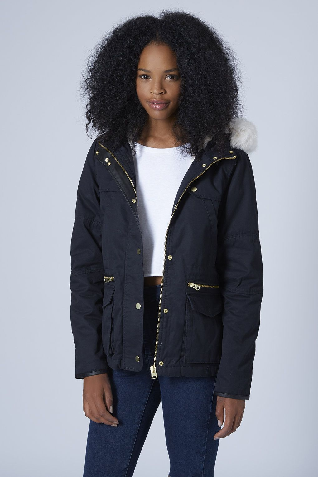 Petite Faux Fur Trim Borg Lined Parka Jacket | Style | Pinterest ...