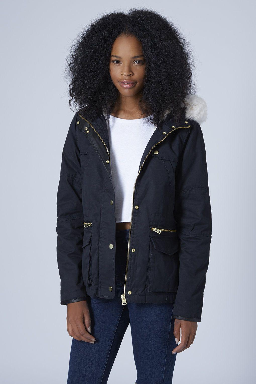 Petite Faux Fur Trim Borg Lined Parka Jacket | Style | Pinterest ...
