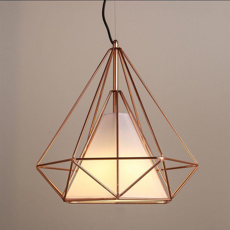 Copper Diamond Wire Cage Pendant Light 60w Black Cage Cage