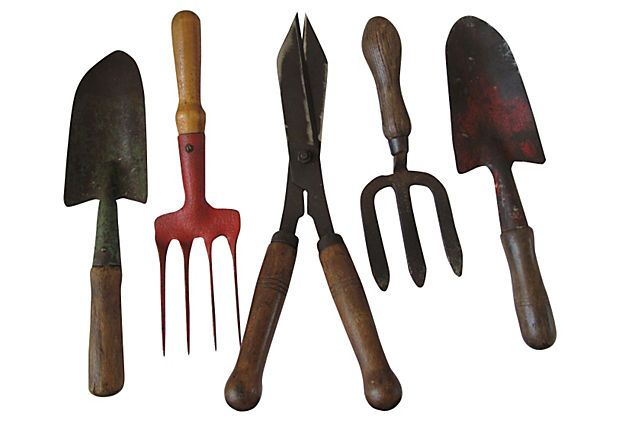 Set Of Five English Gardening Implements Still Useful And Make A
