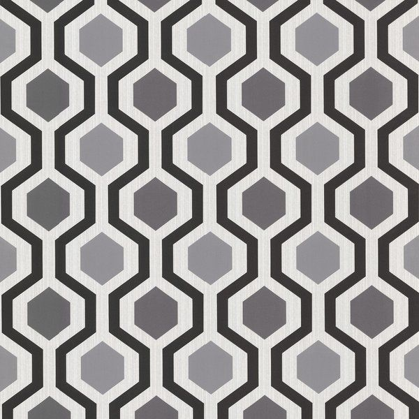 This groovy geometric wallpaper brings a modern allure to kitchen walls thats stylishly vogue