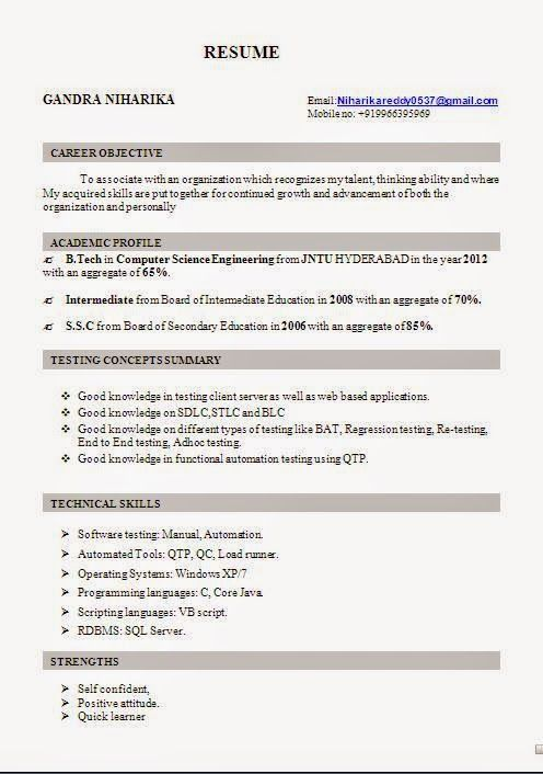 europass cv word Excellent Curriculum Vitae   Resume   CV Format - software tester sample resume