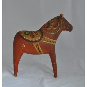 Great old Mor Nisser Dala horse with unusual type of carving