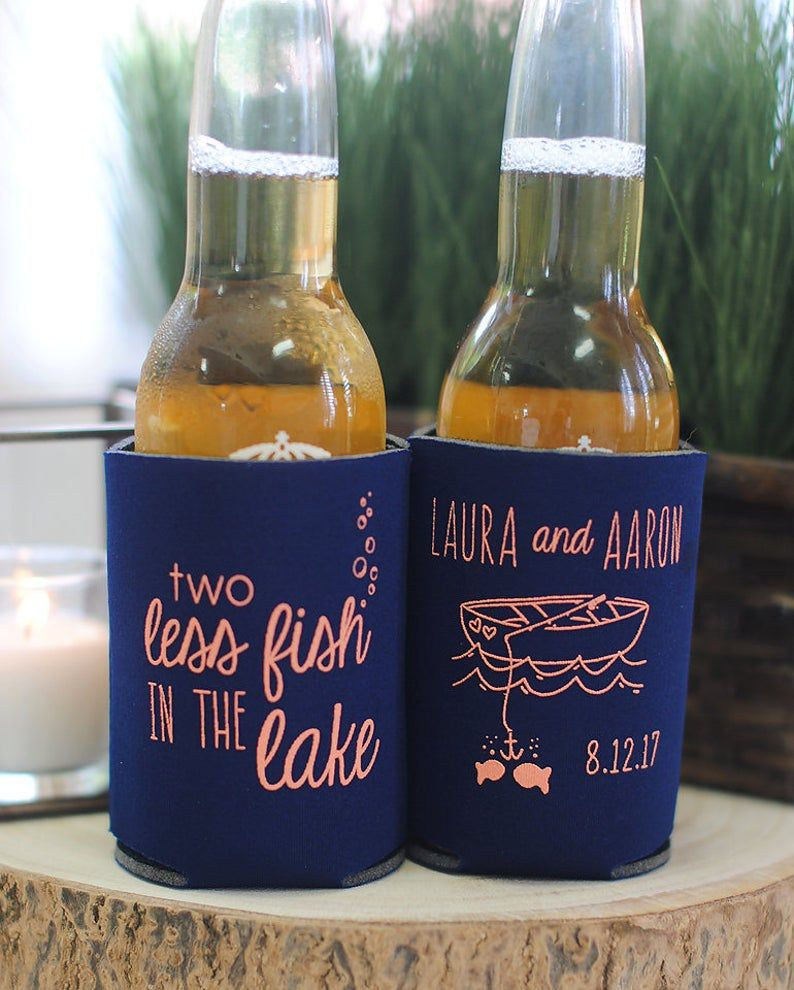 Beach Wedding Favors – 2 Two Less Fish in the LAKE Wedding Can Coolers, Destination Wedding Favors for Guests, Stubby Holders, Summer