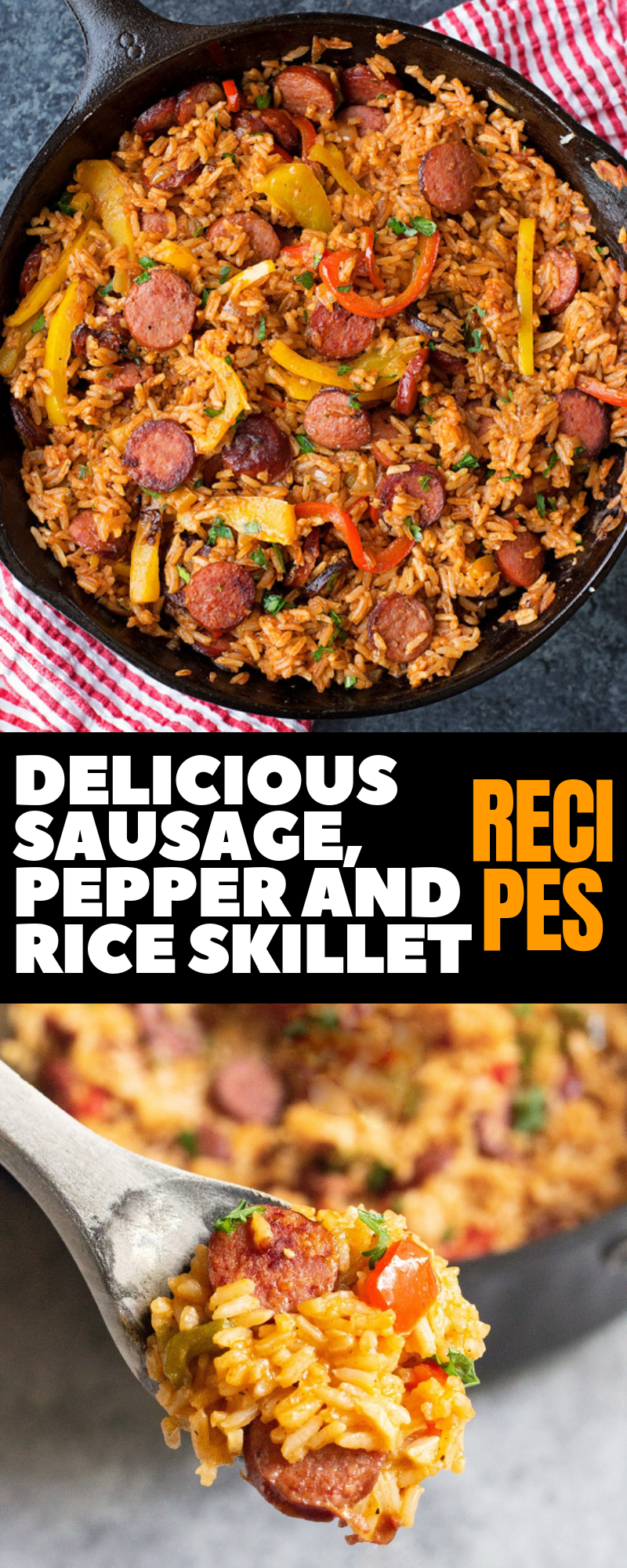 Delicious Sausage, Pepper and Rice Skillet Food Dinner Recipes #dinnerrecipes #ricerecipes #dinnerrecipesforfamilymaindishes