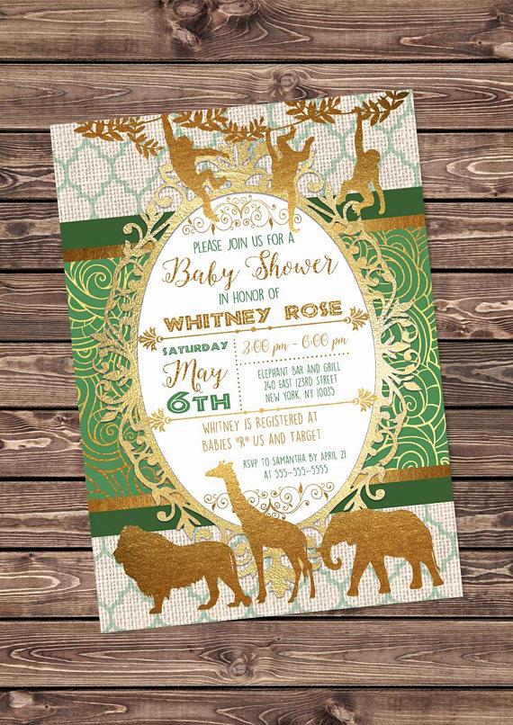 green and gold safari baby shower invitation african animals jungle