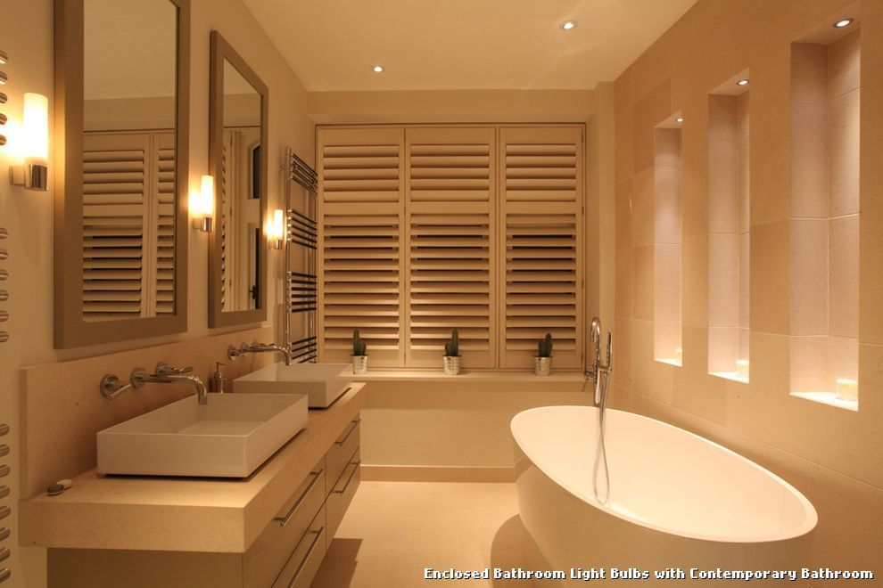 Enclosed Bathroom Light Bulbs With Contemporary Kitchen Lighting From