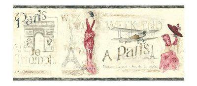 Black Grey Red Paris Eiffel Tower Wallpaper Border KW7526B
