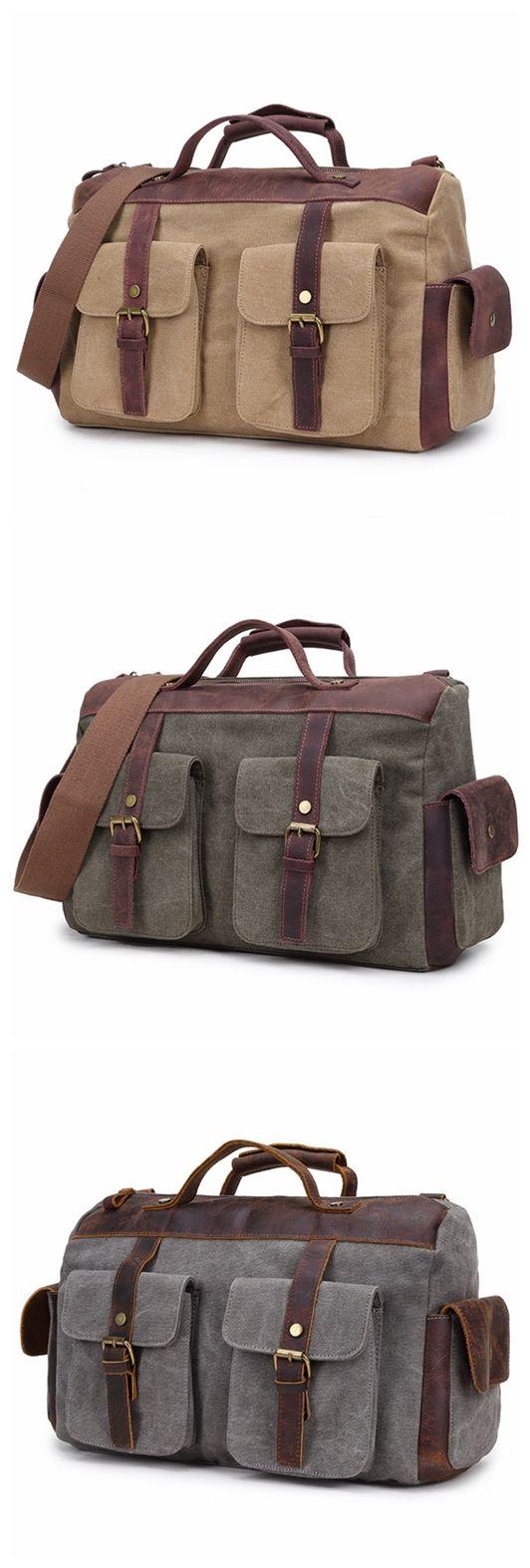 15'' Canvas Leather Travel Bag Messenger Bag Briefcase Shoulder Bag Duffle Bag FB05 Overview: Design: Vintage Canvas Leather Duffle Bag In Stock: 4-5 days For Making Include: Only Canvas Messenger Bag