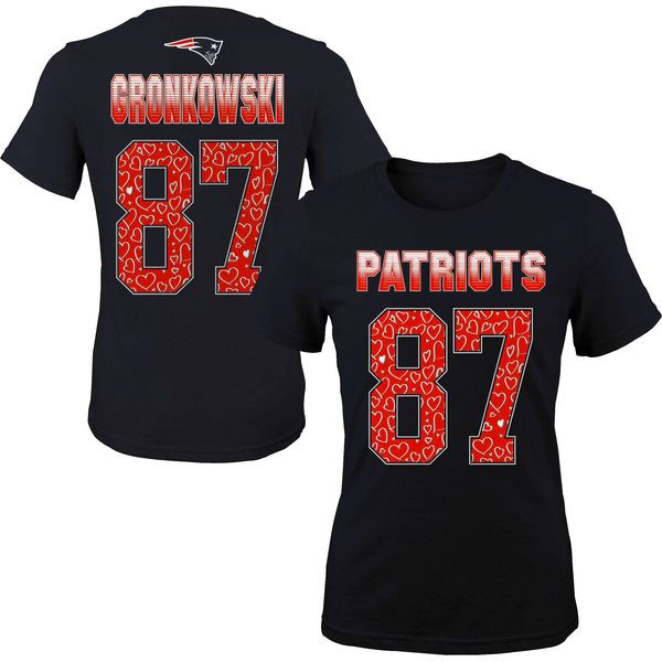 1176a0122 New England Patriots Rob Gronkowski Girls Youth Fade Route Name   Number  T-Shirt - Navy