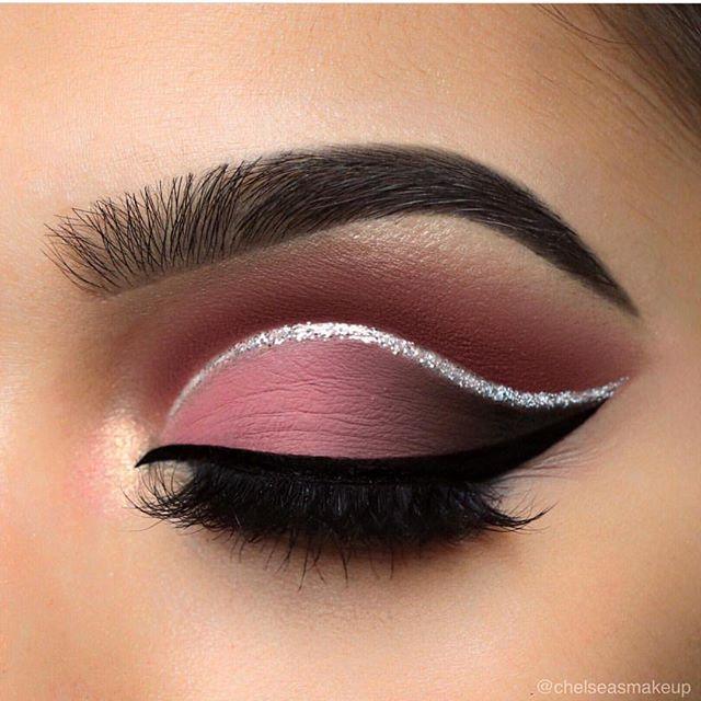 Eye Makeup Cut Crease, Pink Eye Makeup, Pretty Eye Makeup, Glitter Eye Makeup