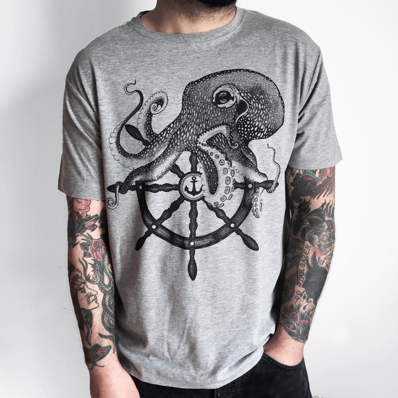 Shirt design on sleeve - Octopus Shirt Mens T Shirt Octopus Tshirt Mens Shirt Printed Tee Sailor Illustration Mans Tshirt