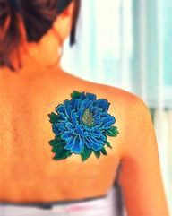 f65380785 Tattoo: Blue Peony on Shoulder; bright color. | Tattoos | Blue ...