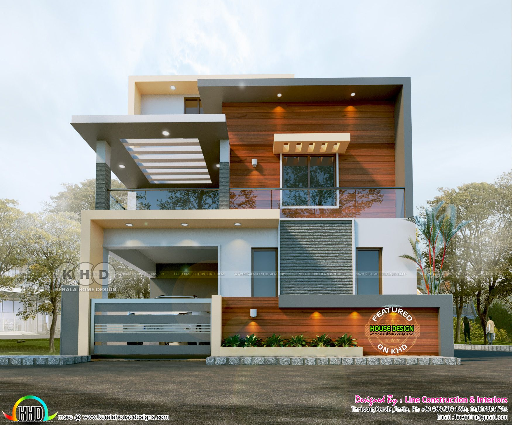 1624 Sq Ft 3 Bedroom Contemporary House In 2 Different Looks Modern Exterior House Designs Duplex House Design Bungalow House Design