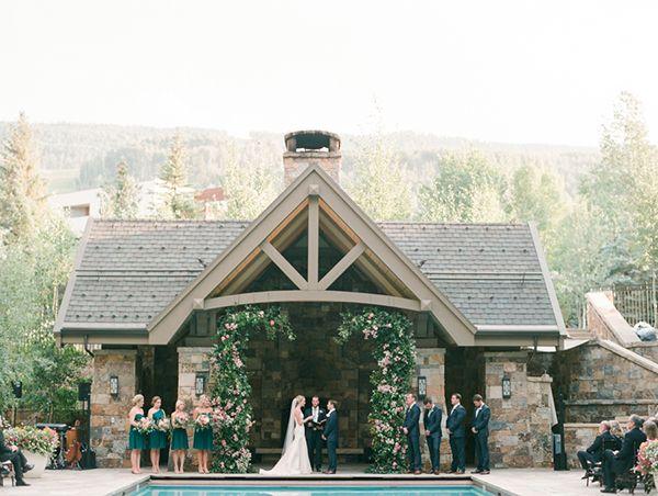 Four Seasons Resort Wedding In Vail Colorado Photographed By Connie Whitlock Fl Tara Latour Dress Emerald Green Bridesmaid Dresses