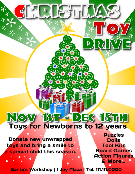 Free Christmas Toy Drive Flyer Template to download – Microsoft Publisher Christmas Templates