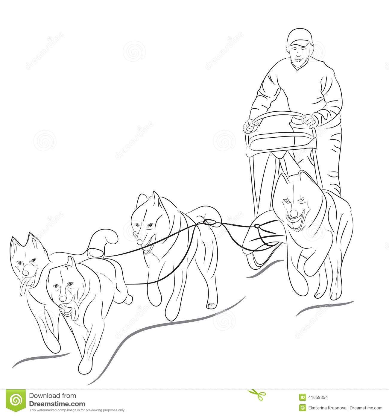 Hand Drawn Illustration Of Dogs Pulling A Sled