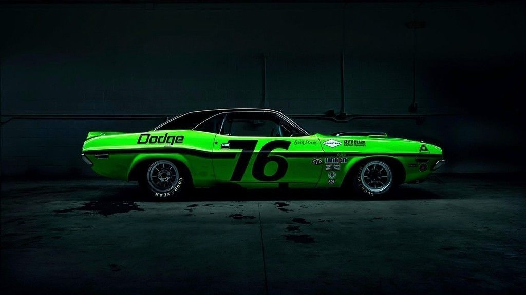 Dodge Challenger Green Sports Car Side View Wallpaper Cars