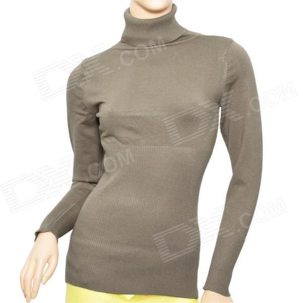 Simple Womans Mercerized Cotton Knit Turtleneck Sweater - Beige Grey