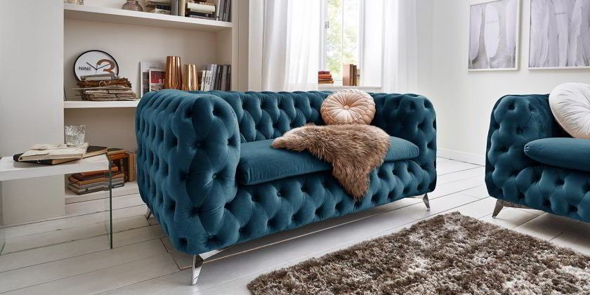 Designer Chesterfield Sofa Samt Stoff Turkis Petrol Emma 2 Sitzer Modern Chesterfield Sofa Chesterfield Mobel Sofa Turkis