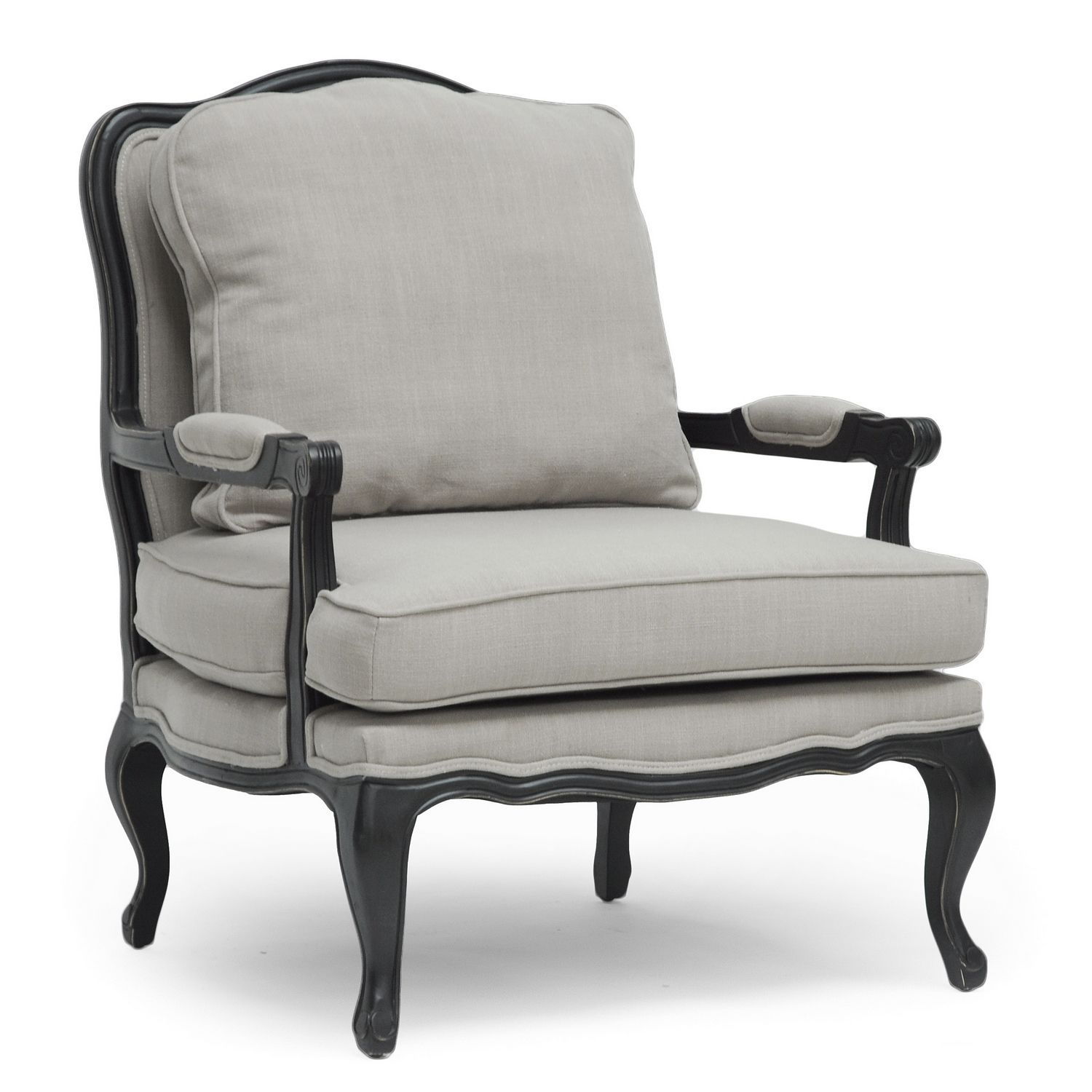 Our Antoinette features scalloped and scrolled wood trim padded