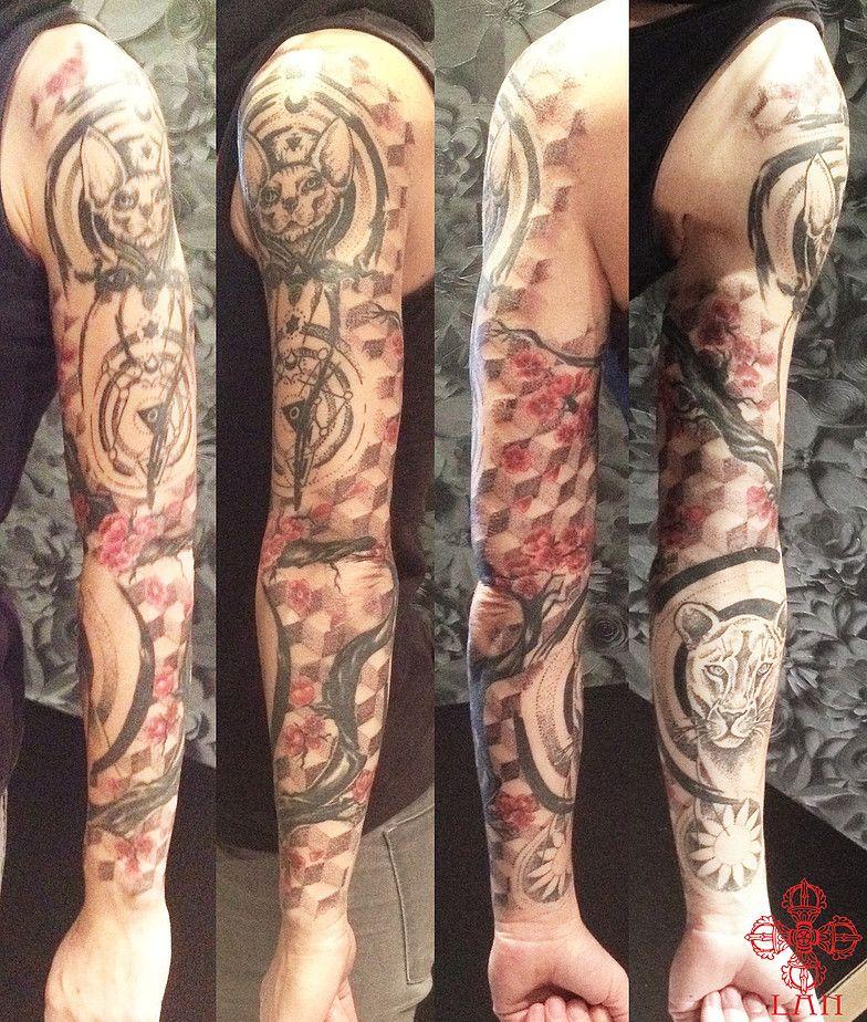 Tattoos Geometrique Ornemental Dotwork Couleur Chat Sphinx