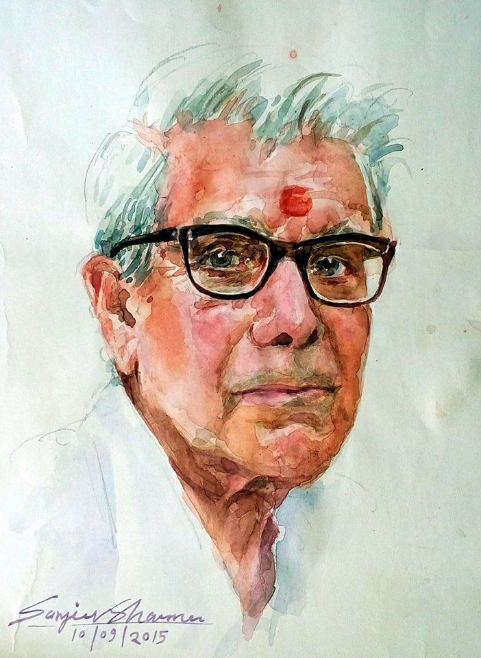 My father watercolor by sanjeev sharma jaipur