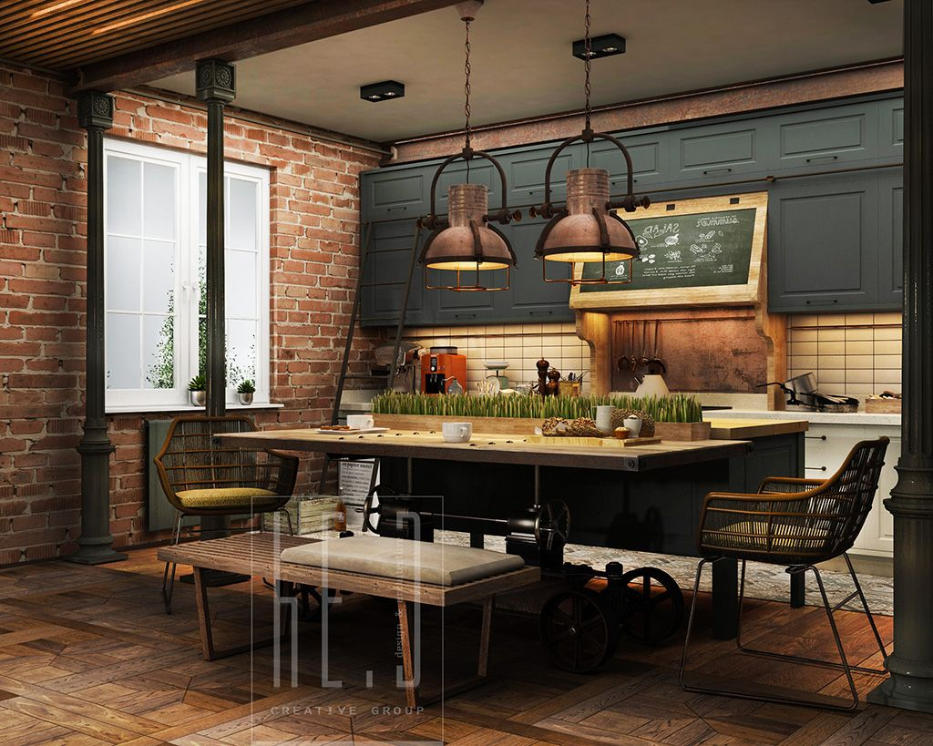 Archaiccomely Industrial Kitchen Design For Home : Industrial ...