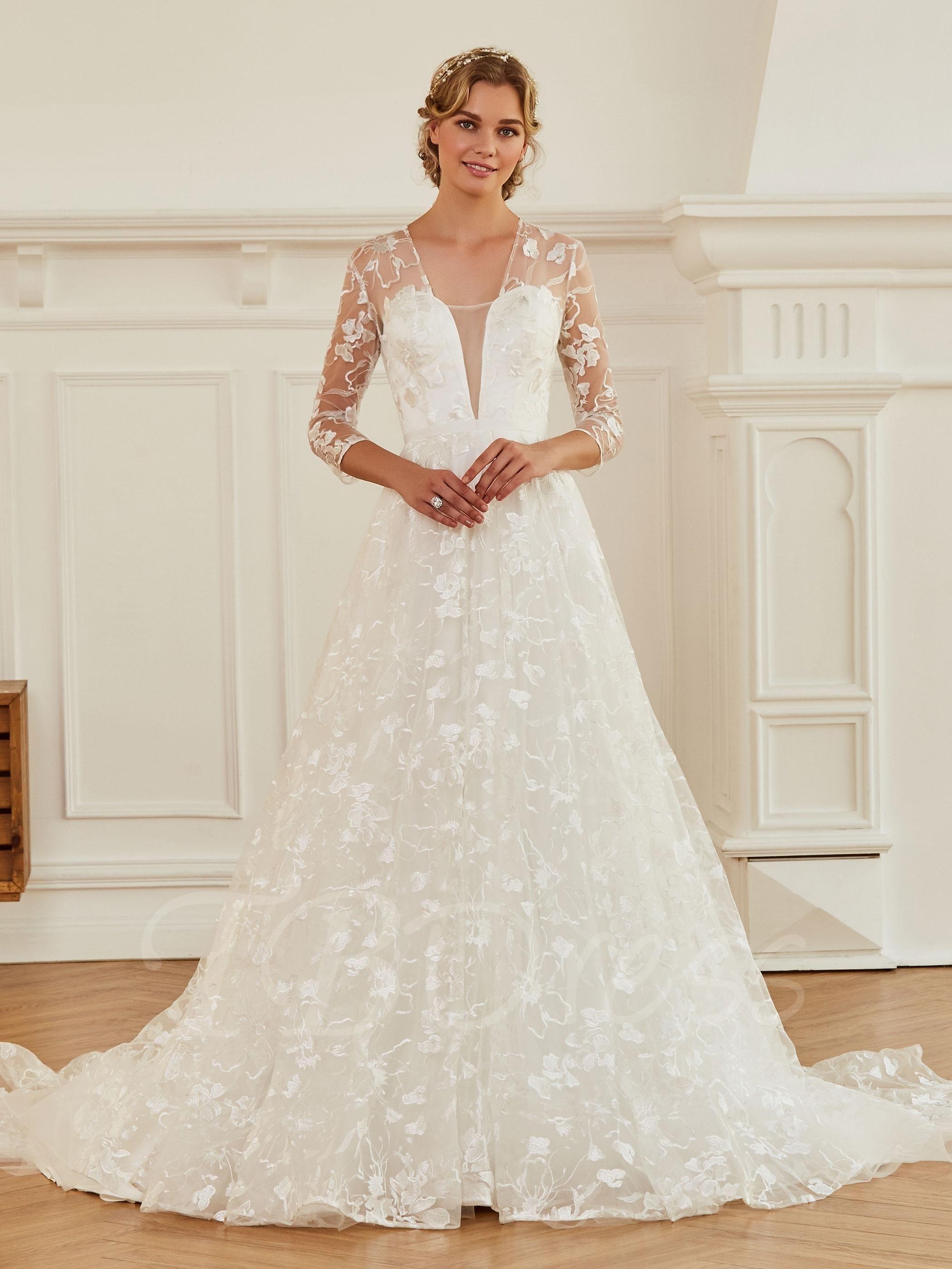Tbdress tbdress vneck length sleeves aline lace wedding